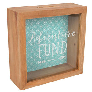 """Adventure Fund"" dark wooden shadow box frame type money box."