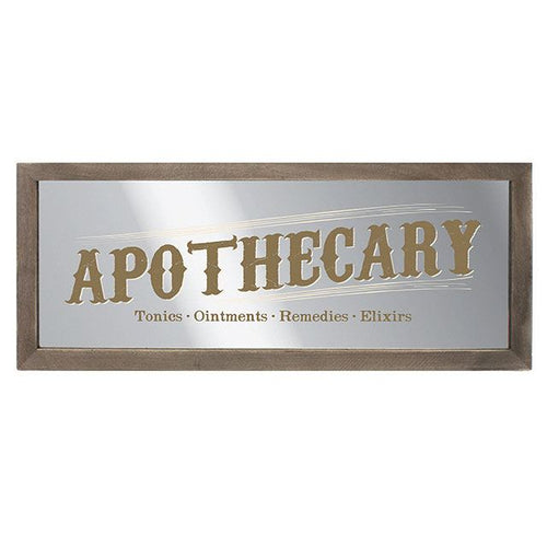 Apothecary wooden framed wall mount rectangular mirror. Approx. 20cm x 50cm