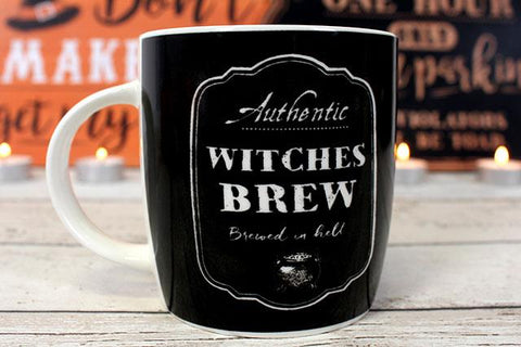 "Authentic Witches Brew ""Brewed In Hell"" text black ceramic witches coffee or tea mug. Comes boxed so would make a perfect Halloween gift for your fave witch."
