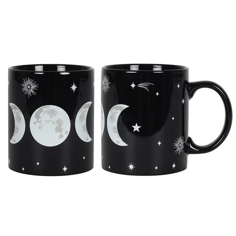 Black bone china Triple Moon Goddess symbol Wiccan mug