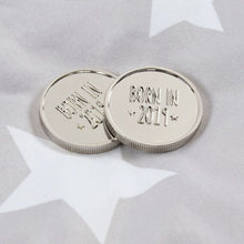 "Silver new baby ""Born in 2019"" keepsake coin. Baby.newborn memory token to treasure."