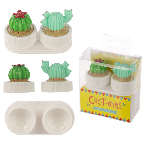 Cute cactus design/shape monthly contact lens holder/cleaning case. White plastic with cactus theme screw top lids.