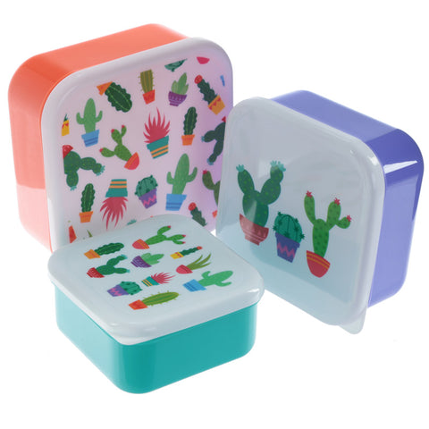 """Snac-Tus"" Cactus print design set of 3 plastic food containers/packed lunch/school lunch sandwich boxes."