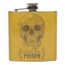 "Yellow stainless steel hip flask with skull design and ""Choose Your Poison"" slogan/text."