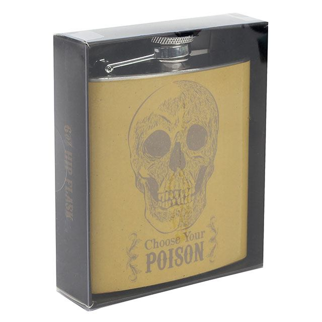 Skull design 6oz stainless steel hip flask with