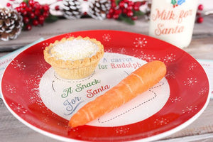 Santa & Rudolph Christmas Eve treats plate & glass milk bottle/straw set.