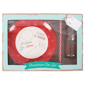 Santa & Rudolph Christmas Eve plate and bottle child's treat set.