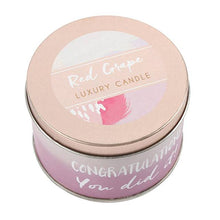 """Congrats, you did it!"" red grape scented candle in a rose gold tin."
