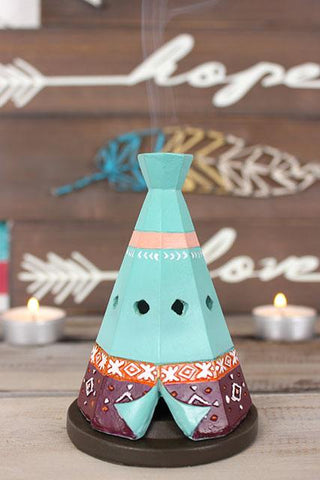 Colourful resin teepee/wigwam incense cone burner
