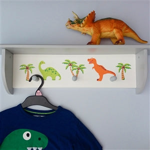 Cute dinosaur wooden wall shelf with two dinosaur characters and three coat/robe hooks.