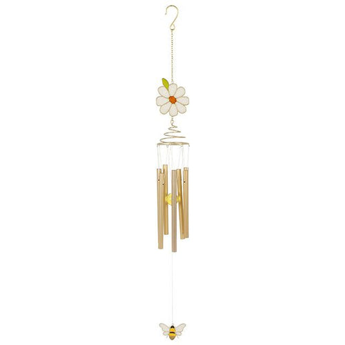 Glitter daisy and bee country style indoor and outdoor garden spiral windchime ornament.