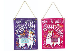 "Cute llama slogan rectangular metal wall hanging sign/plaque: ""No prob-llama"" or ""Drama llama""."
