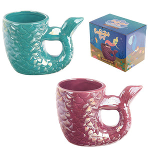 Enchanted Seas mermaid tail handle novelty coffee mug in a choice of pink or green. Comes gift boxed.