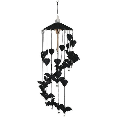 Ethically sourced Saa paper handmade bat design gothic Halloween ceiling mounted mobile decoration.