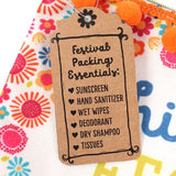 Festival essentials packing list make up and toiletries bag.