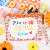 """This is my festival face"" festival essentials make up and toiletries bag/pouch made of fabric with secure zip."