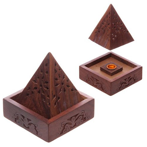 Flower Fretwork Wooden Incense Cone Pyramid Burner