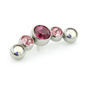 Internally threaded medical grade titanium curved jewelled cluster with 5 mixed pink gems in fuchsia, pink and aurora borealis/ab to fit any 0.8mm internally threaded labret/dermal anchor base or bar.