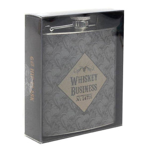 """Whiskey Business"" 60z black steel hip drinking whisky flask. Perfect gift for any whiskey/whisky drinker."