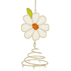 Glitter daisy and bee design spiral windchime for garden or indoor use.