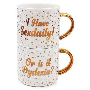 "Gold Edition twin pack of white china stacking mugs featuring ""I Have Sexdaily"" and ""Or is it Dyslexia?"". Comical and cheeky, capacity 300ml and come gift boxed"