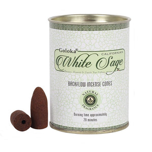 Goloka brand tin of 24 Californian White Sage backflow incense cones.