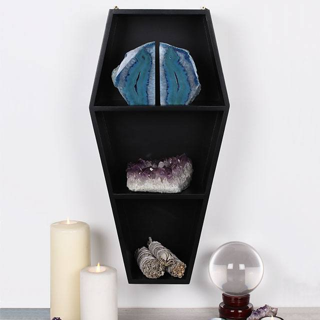 Gothic black wooden coffin shaped wall display shelving unit for crystals, candles, curios, etc.