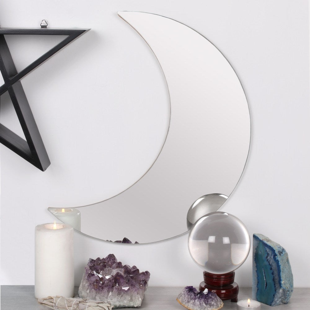 Gothic pagan wiccan witch crescent moon shaped frameless wall mount mirror, approx. size 40cm x 26cm x 0.5cm