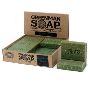 Greenman Soaps Gardener's Scrub Lemon & Basil  hand crafted luxury artisan 100g soap bar. Not tested on animals.