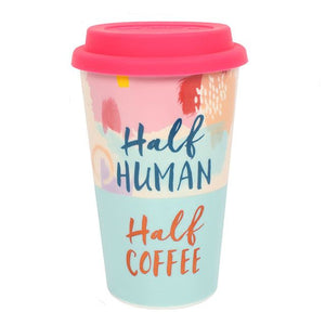 """Half Human, Half Coffee"" pastel coloured ceramic thermal travel coffee cup."