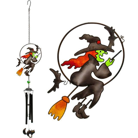 Ethically sourced cute witch, witches cat and bat glass & metal garden or indoor windchime ornament, makes a perfect Goth Halloween gift.