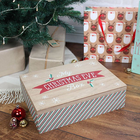"Wooden ""My Christmas Eve Box"" high quality hinged lid Christmas Eve gift box."