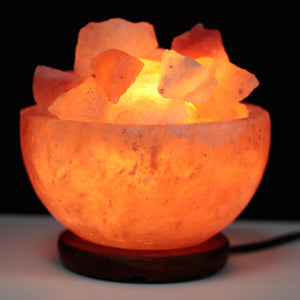Fire Bowl style Himalayan rock salt lamp bowl with loose salt chunks. Complete with UK 3 pin plug, salt lamp chunks, on/off switch and bulb.