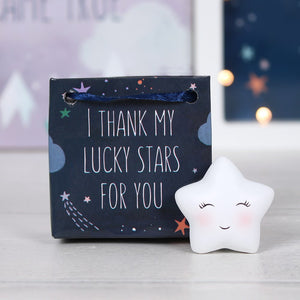 "Cute little star in a bag ornament with ""I thank my lucky stars for you"" slogan friendship gift."