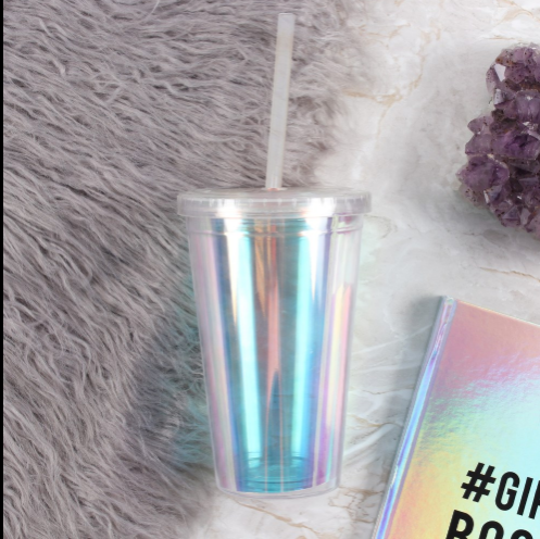 Rainbow chrome oil slick iridescent reusable plastic eco friendly drinking cup and straw.