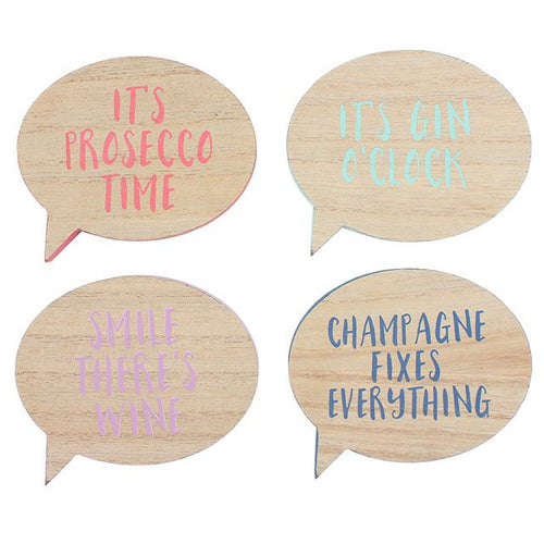 Set of 4 champagne, gin, prosecco and wine lover's speech bubble shaped slogan drinks coasters.