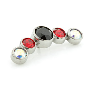 Internally threaded medical grade titanium curved jewelled cluster with 5 mixed vamp gems in jet black, ruby red and aurora borealis/ab to fit any 0.8mm internally threaded labret/dermal anchor base or bar.