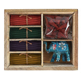Karma Scents incense wooden gift set-display set elephant incense stick and cone burner and a variety of Karma incense sticks/cones.