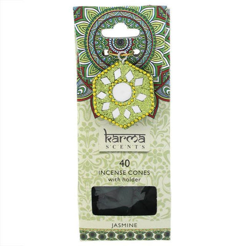 Karma Scents pack of 40 Jasmine fragrance incense cones and sparkly cone incense holder.