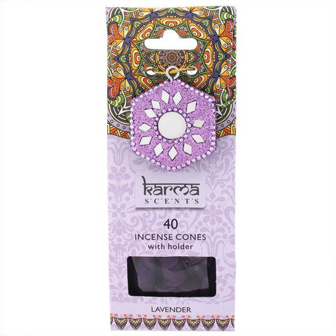 Karma Scents pack of 40 Lavender fragrance incense cones and sparkly incense cone holder.