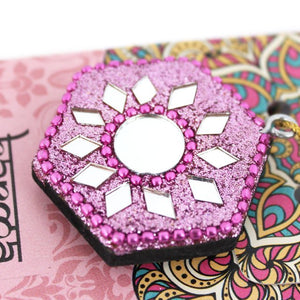 Karma Scents sparkly jewelled pink rose fragrance incense cone holder.