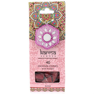 Karma Scents pack of 40 Rose fragrance incense cones and sparkly cone incense holder.
