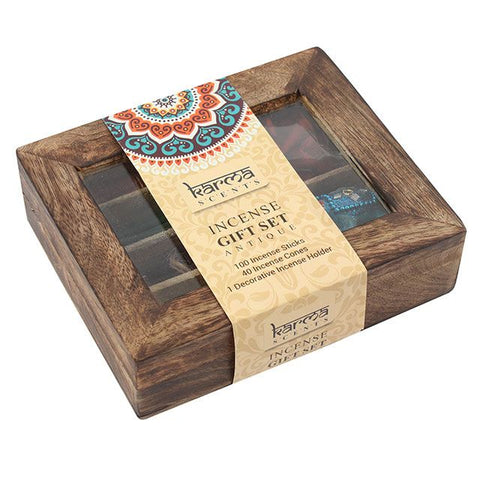 Karma Scents wooden gift boxed incense sticks and cones variety starter/gift set with elephant incense holder.