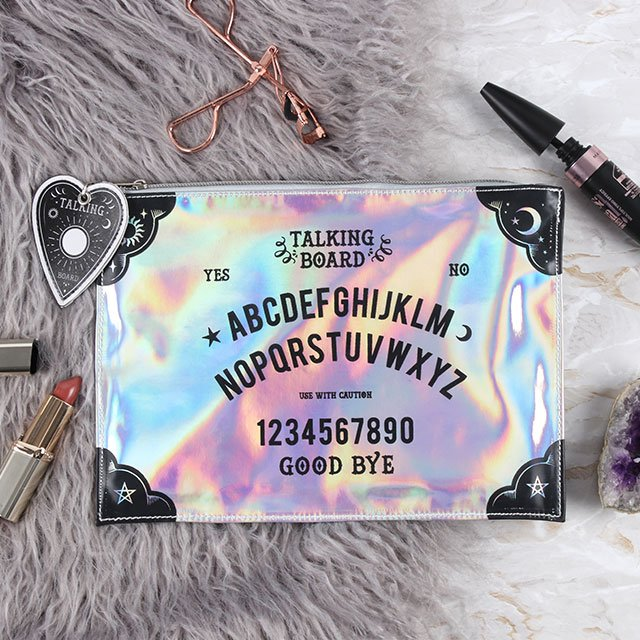 Rainbow laser oil slick holographic ouija board design make up/toiletries bag.