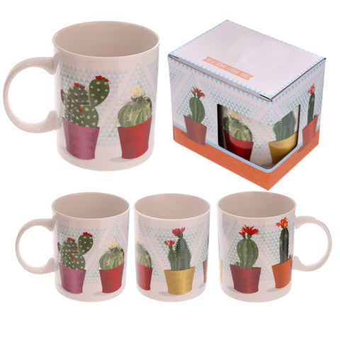 Cute cactus/cacti print ceramic mug by artist Lauren Billingham, part of the El Succulente range.