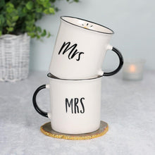 """Mrs & Mrs"" same sex/lesbian couple pack of two white ceramic tea or coffee cups."