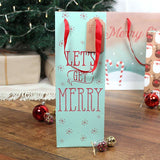 Let's Get Merry slogan cute wine/spirits bottle Christmas gift bag and tag.