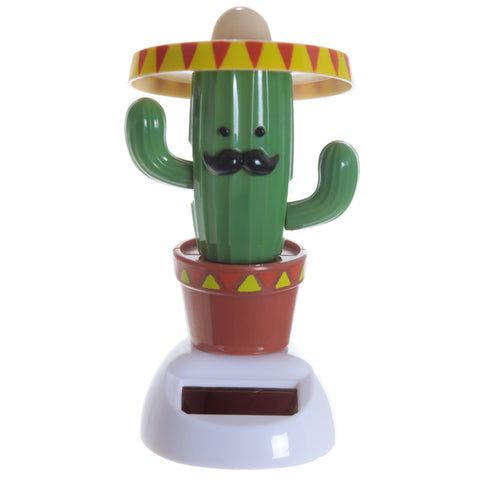 Cute Mexican sombrero wearing cactus novelty solar powered novelty nodding toy.