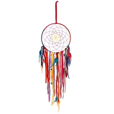 Hippy chic multi coloured rainbow wall hanging dreamcatcher ornament