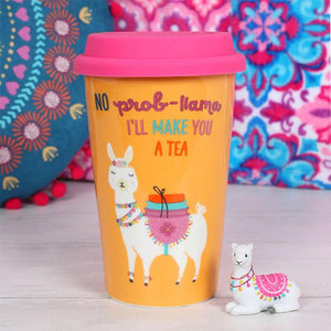 "Thermal travel tea mug with novelty Llama design and ""No Prob-Llama I'll Make You A Tea"" slogan."